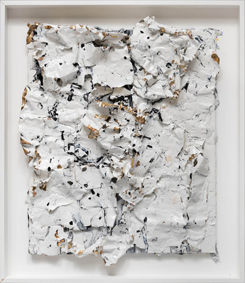 Untitled 2012 Handmade sterling silver, household paint, assortment of plastics on canvas 30x 26 inches