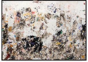 Black Moon Rising Handmade sterling silver sheets, trash, household paint, assortment of plastics on canvas 6 × 8 feet