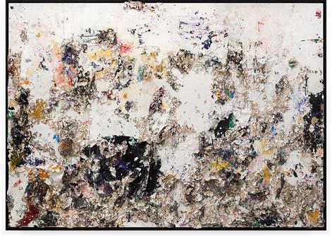 Black Moon Rising 2013 Handmade sterling silver sheets, trash, household paint, assortment of plastics on canvas 6 × 8 feet