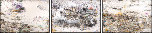 The Trilogy Household paint with precious metals & trash 96 × 144 inches