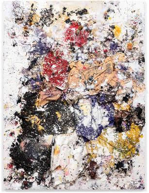 Untitled 2015 Handmade sterling silver sheets, trash, household paint, egg yolk preserved in resin, egg shell, assortment of plastics on canvas 8 × 6 feet