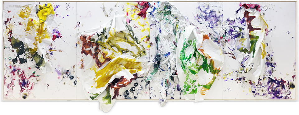 Four Seasons — Autumn Amazon is Burning Household paintsheets, acrylic, spray paint, egg, plastic carpet wrap and sterling silver 8 feet x 24 feet x 17 inches 2019