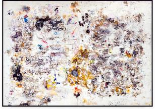 1949 Handmade sterling silver sheets, trash, household paint, egg yolk preserved in resin, egg shell, assortment of plastics on canvas 12 × 17 feet
