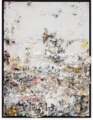 Rite of Spring I Handmade sterling silver sheets, household paint, assortment of plastics on canvas 8 × 6 feet