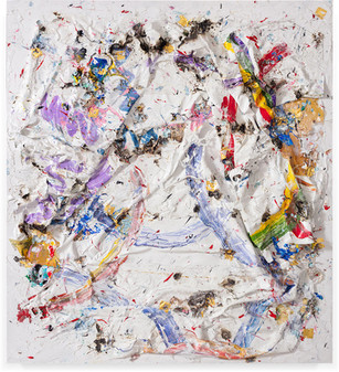 Untitled Household paintsheets, acrylic paint, and sterling silver on canvas 9 feet 6 inches × 8 feet 6 inches