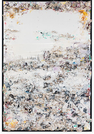View from Mt. Everest (Horizontal-Diptych) Handmade sterling silver sheets, household paint, assortment of plastics on canvas 12 × 8 feet
