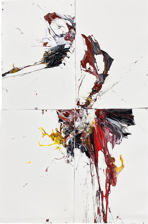 One Breath No. 593 2020 acrylic paint,egg and gesso on arches paper 6 feet 8 inches x 4 feet 6 inches
