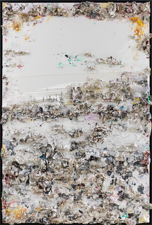 A View from Mt. Everest (Horizontal Diptych) 2013 Handmade sterling silver, household paint, assortment of plastics on canvas 12 × 8 feet x 6 inches deep