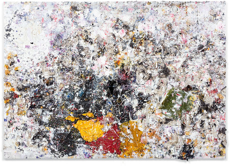 Untitled 2015 Handmade sterling silver sheets, trash, household paint, egg yolk preserved in resin, egg shell, assortment of plastics on canvas 8 feet 6 inches × 12 feet