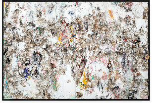 Diptych is Twice as Good Handmade sterling silver sheets, trash, household paint, egg yolk preserved in resin, egg shell, assortment of plastics on canvas 8 × 12 feet