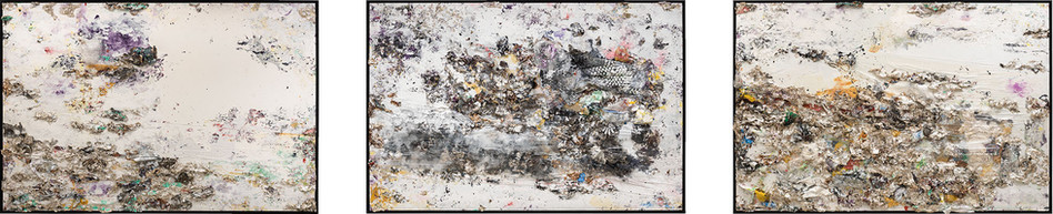 The Trilogy 2013 Household paint with precious metals and trash 8 x 36 feet x 7 inches