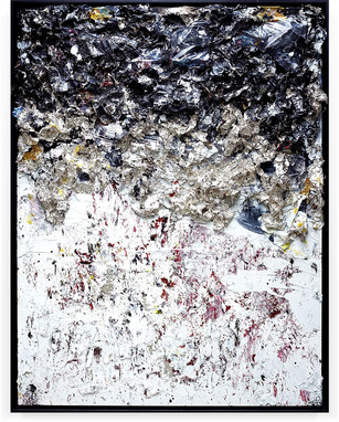 Hommage to MB 2013 Handmade sterling silver sheets, household paint, assortment of plastics on canvas 8 × 6 feet