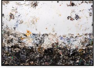Sun Handmade sterling silver sheets, trash, household paint, egg yolk preserved in resin, egg shell, assortment of plastics on canvas 6 × 8 feet