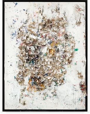 Bouquet Handmade sterling silver sheets, household paint, assortment of plastics on canvas 8 x 6 feet