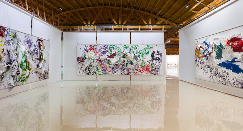 Four Seasons - Summer Volcanic Mountain 2019 Household paintsheets, acrylic, spray paint, egg, plastic carpet wrap and sterling silver 8 feet x 24 feet x 17 inches