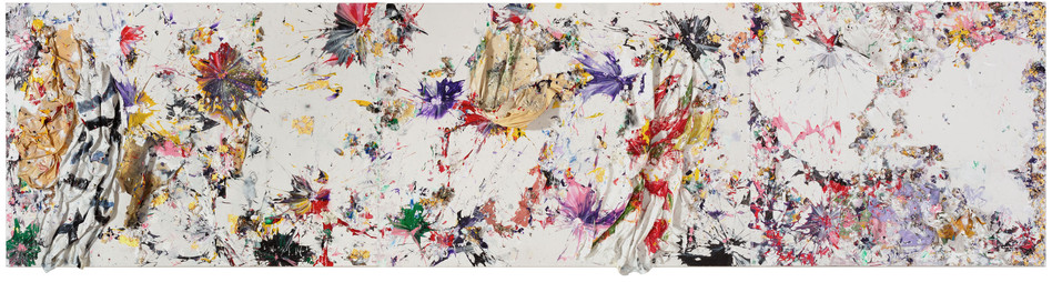 Constellation Household paint sheets, acrylic paint, and sterling silver on canvas 8 feet 6 inches × 33 feet x 13 inches deep