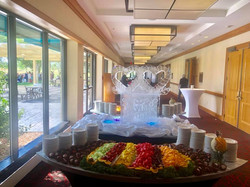 Wedding Ice Carving and Fruit Displa