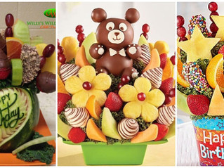 Celebrate Birthdays with a sweet and delicious fruit bouquet, same day delivery available in Grand J