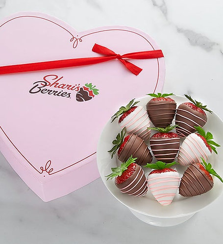 Mother's Day Drizzled Strawberries in Heart Box