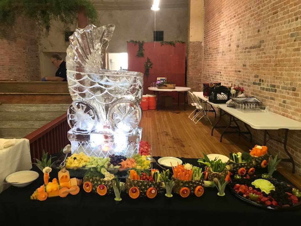 Baby Shower Ice Carvings and Fruit