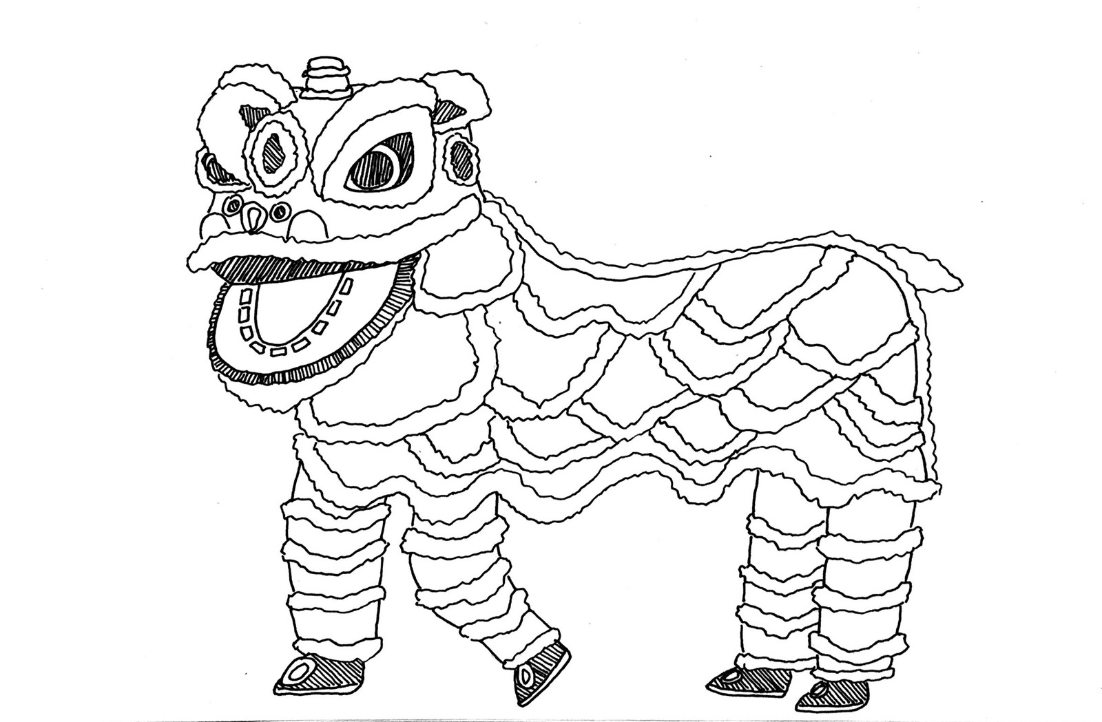Lion Dance Drawing Easy Www Topsimages Com