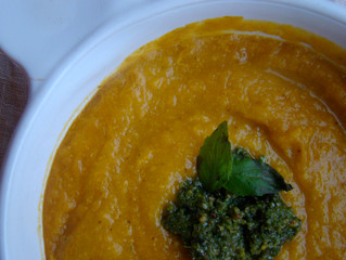 Simple Squash Soup with Pecan Parsley Pesto