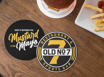 mockup-of-two-round-coasters-lying-on-a-