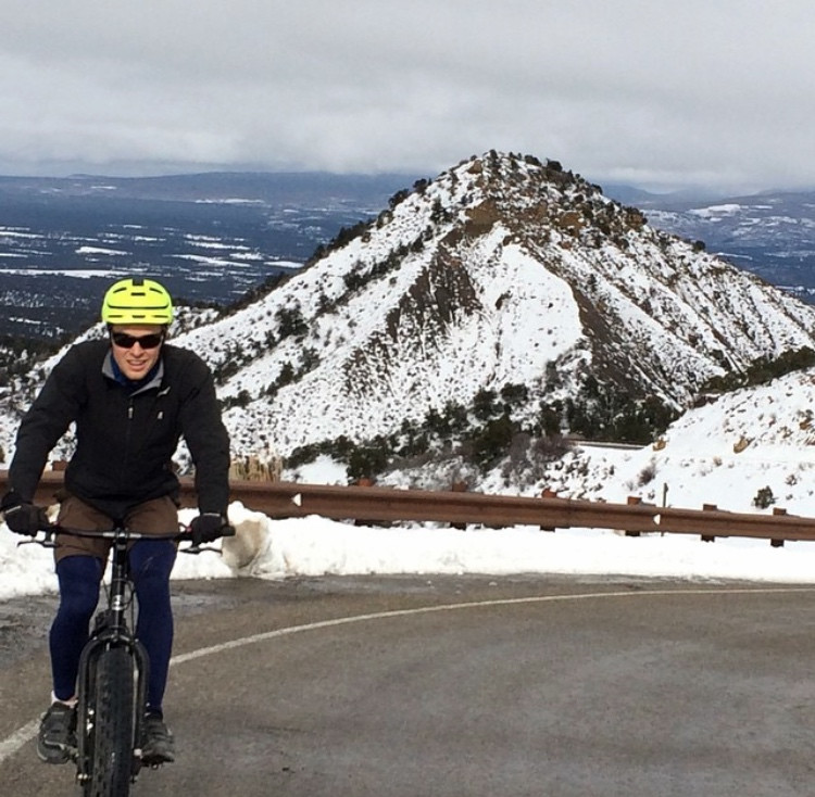 Ben, while I made him join me on a fat bike ride up Mesa Verde.