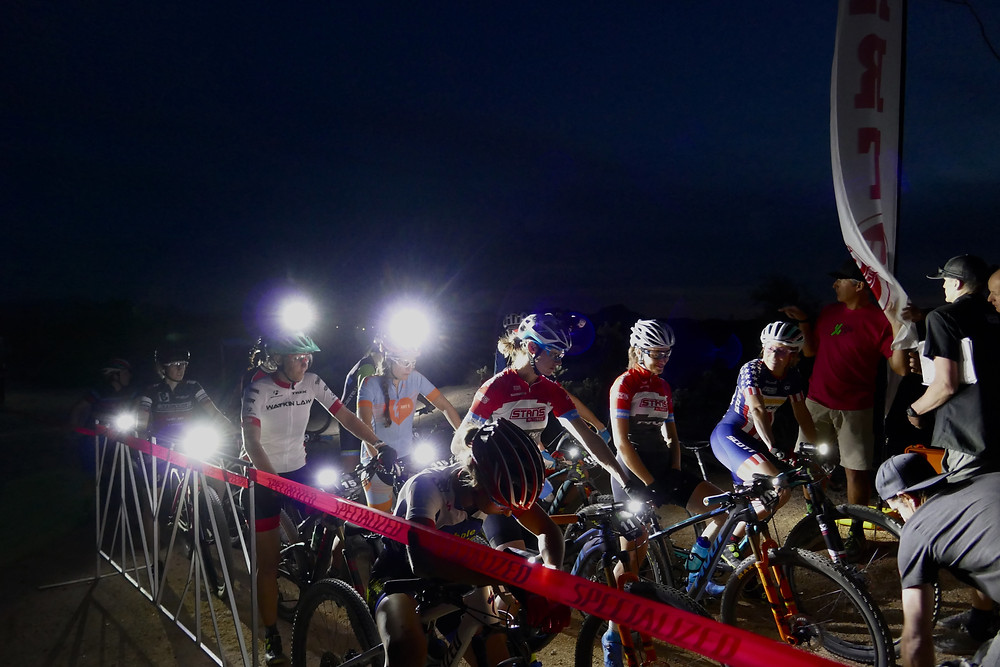 Start line at night.