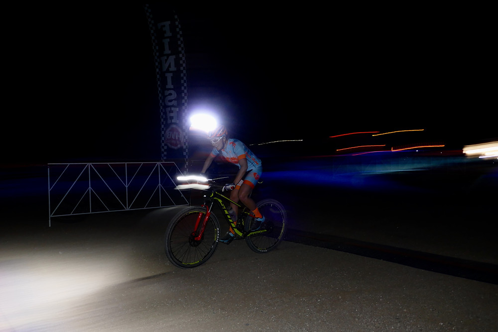 Racing at night.