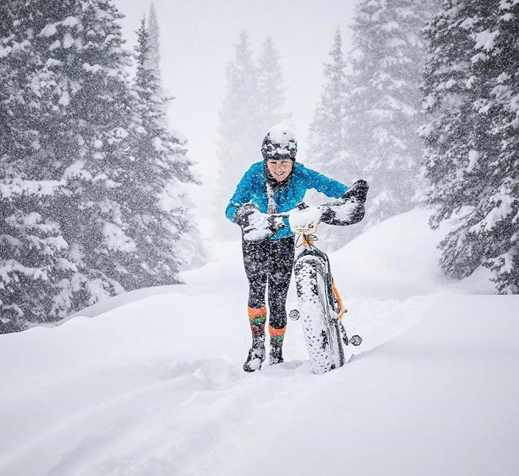 Here I am at the highest point of the Lone Cone Fat Bike Challenge, taking my bike for a walk!