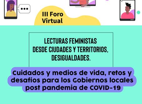 """Inscripciones abiertas: III Foro Virtual """"Lecturas Feministas desde ciudades y territorios"""""""