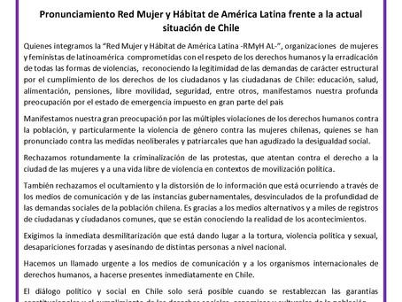 Pronunciamiento de la Red frente a la actual situación de Chile