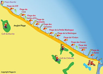 Carte des plages d'Anglet - Côte Basque
