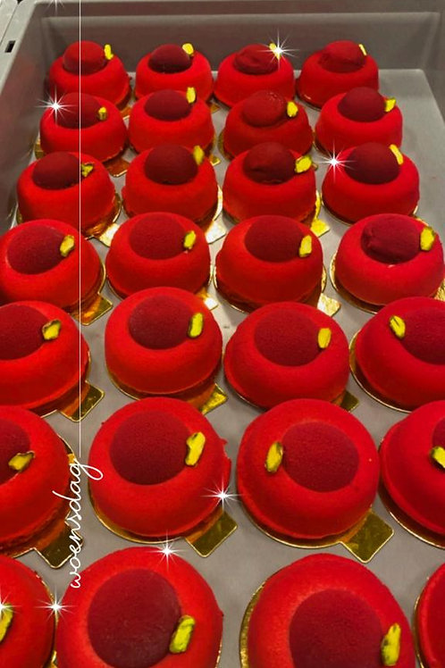 Luxe Pistache-Framboos gebakje