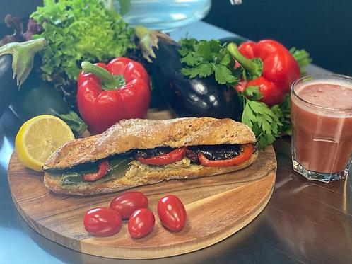 Baguette Rustique Veggie Hummus met gegrilde groente