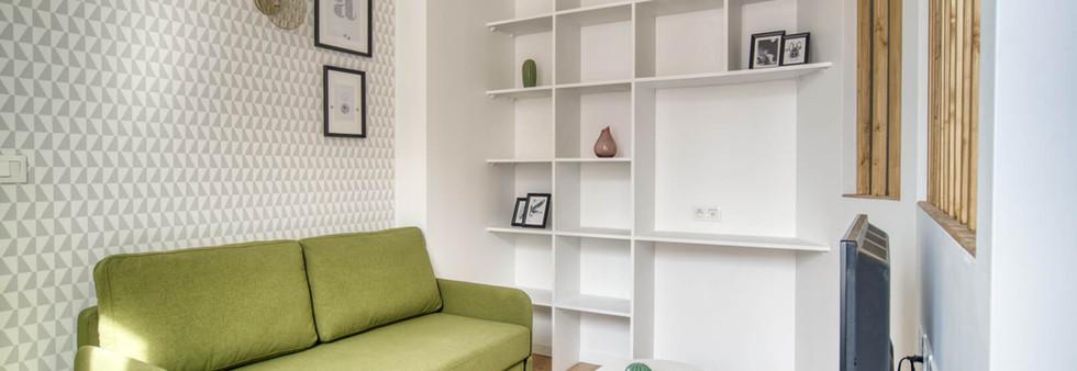 sejour canapé vert amenagement tendance renovation appartement travaux-decoration lyon architecte intérieur studiolb lisa bronsztejn natural colors