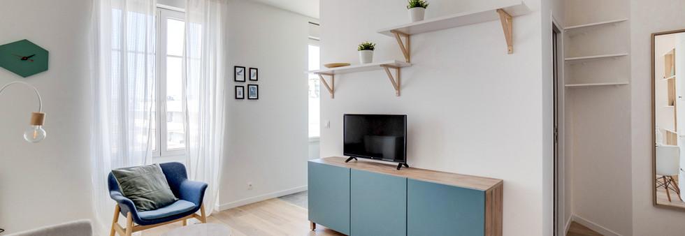 buffet bleu amenagement tendance renovation appartement travaux-decoration lyon architecte intérieur studiolb lisa  bronsztejn sublimer l'espace