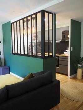 cuisine verte amenagement tendance renovation appartement travaux-decoration lyon architecte intérieur studiolb lisa bronsztejn urban jungle