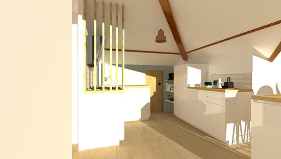 cuisine combles amenagement tendance renovation appartement travaux decoration caluire cuire architecte intérieur studiolb lisa bronsztejn lumière