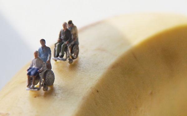 写真:車椅子に乗る人、車椅子を押す人