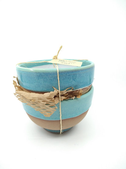 Set of 2 - Ocean Blue Stoneware Cereal Bowls