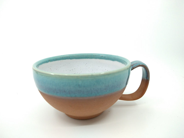 Ocean Blue Stoneware Cappuccino Mug