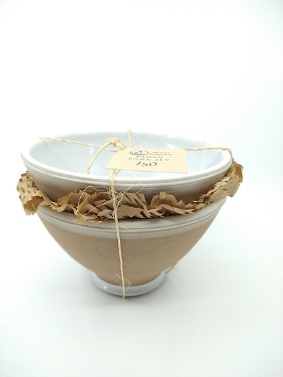 Set of 2 - White Ramen Stoneware Bowls