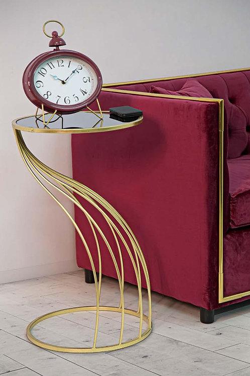 Tavolino porta telefono oro con base nera