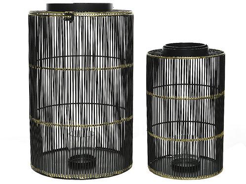 Set lanterne minicanne black con rifiniture oro