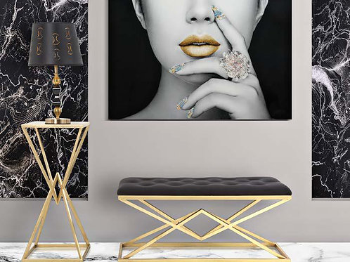 Panca piramid oro con seduta velluto nera