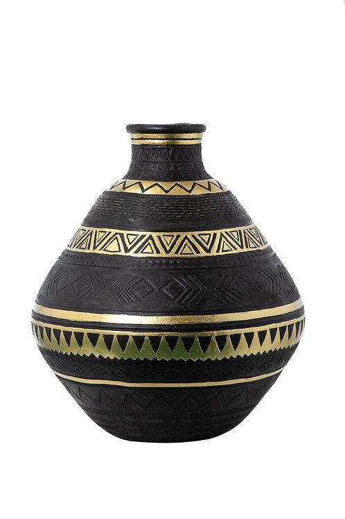 Vaso resina black/gold