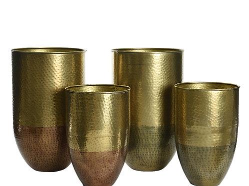 Set 2 vasi martellati oro