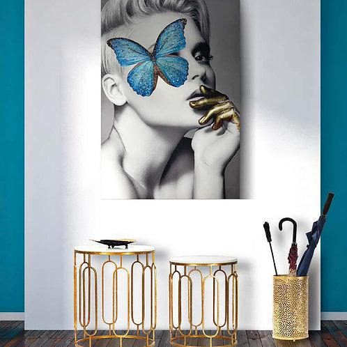 Set 2 tavolini oro con base di marmo